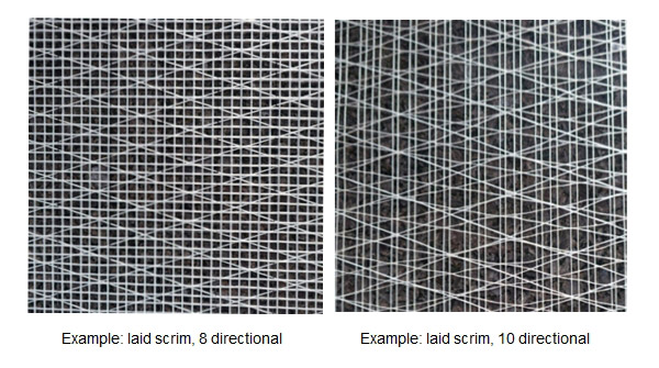 special constructions 8 - 10 dimensional laid scrims
