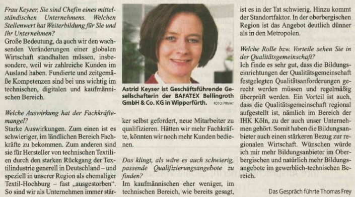 KStA Interview Astrid Keyser Job Karriere 13 Januar 2018 Ausschnitt