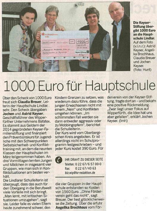 Keyser-Stiftung trägt Präventionskurs Hauptschule Lindlar