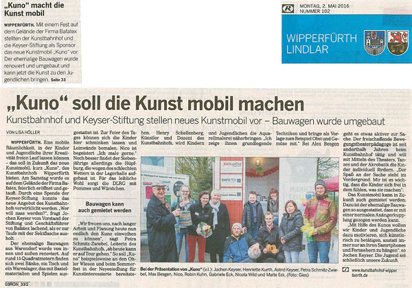 Keyser Stiftung Spende Kumo Kunstmobil eingeweiht