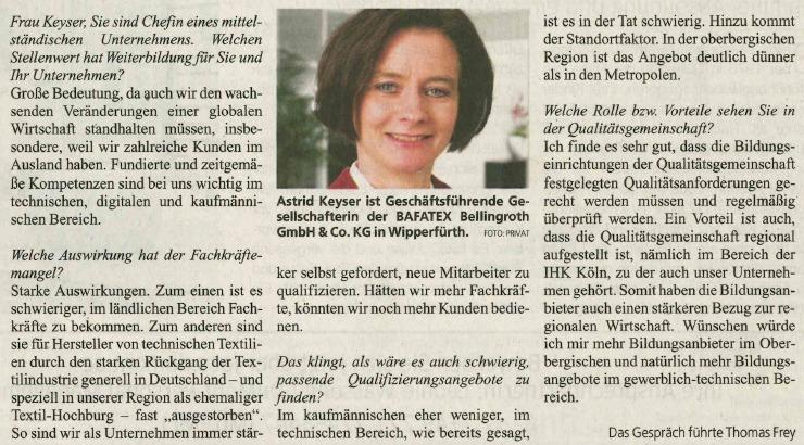 KStA Interview Astrid Keyser Job Karriere 13 Januar 2018 Ausschnitt